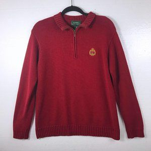 Lauren Ralph Lauren S Crest Red Half Zip Sweater